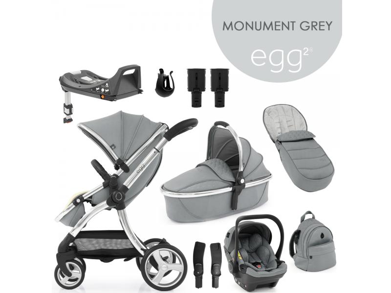 Egg 2 SET PLATINUM 9 v 1 MONUMENT GREY / Mirror, kočárek, korba, autosedačka, multiadaptér, batoh, fusak, držák nápojů, zvyš.adaptér, báze