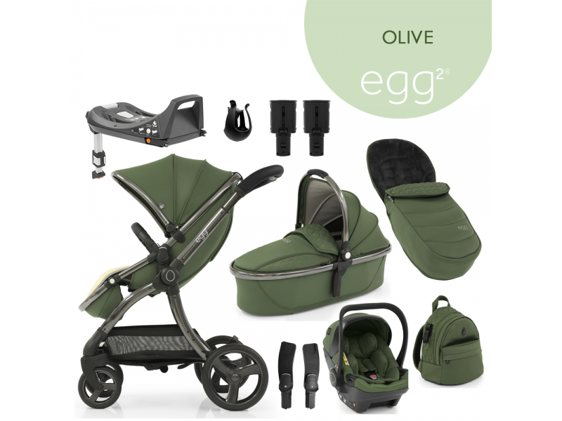 Egg 2 SET PLATINUM 9 v 1 OLIVE / Gun metal, kočárek, korba, autosedačka, multiadaptér, batoh, fusak, držák nápojů, zvyš.adaptér, báze