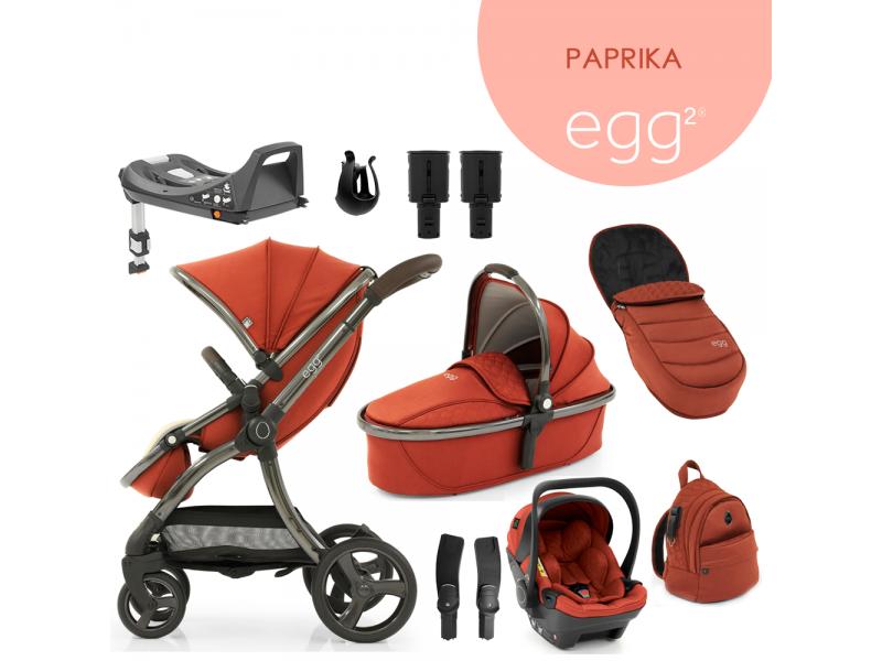 Egg 2 SET PLATINUM 9 v 1 PAPRIKA / Gun metal, kočárek, korba, autosedačka, multiadaptér, batoh, fusak, držák nápojů, zvyš.adaptér, báze