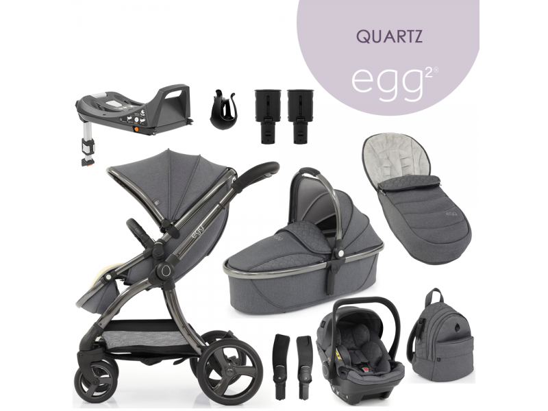 Egg 2 SET PLATINUM 9 v 1 QUARTZ / Gun metal, kočárek, korba, autosedačka, multiadaptér, batoh, držák nápojů, zvyš.adaptér, báze