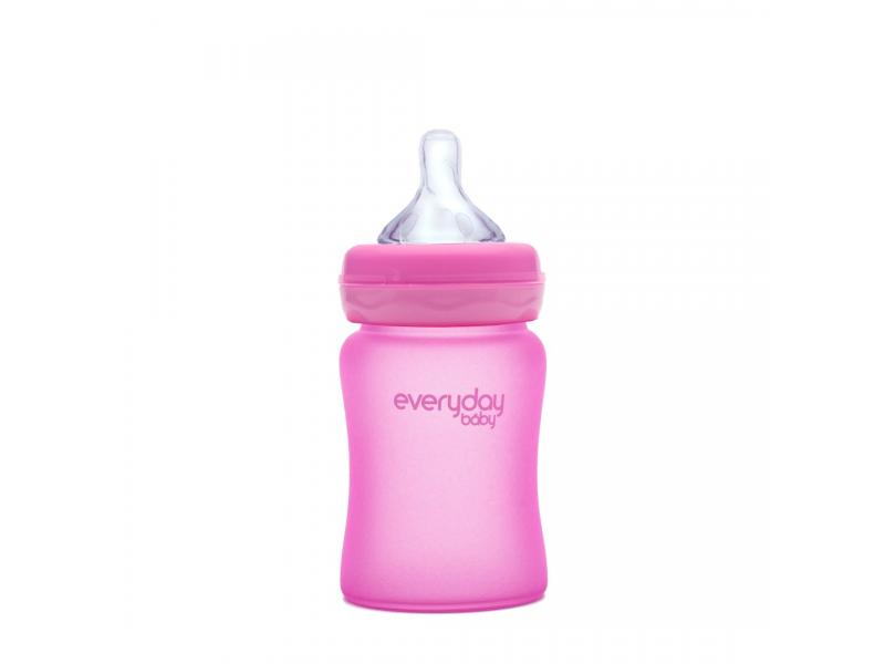 láhev sklo s teplotním senzorem Healthy+ 150 ml Cerise Pink 1