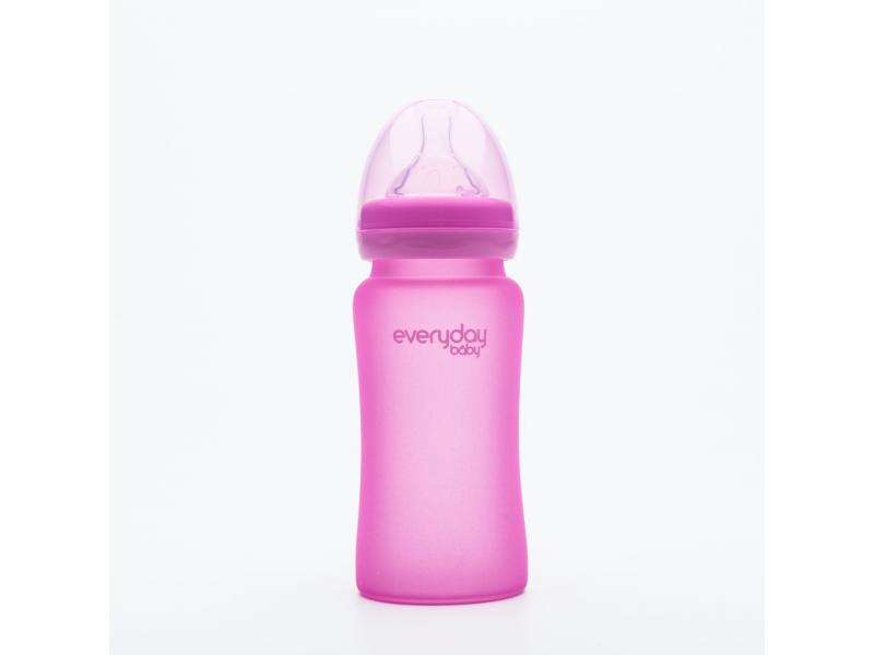 láhev sklo s teplotním senzorem Healthy+ 240 ml Cerise Pink 1