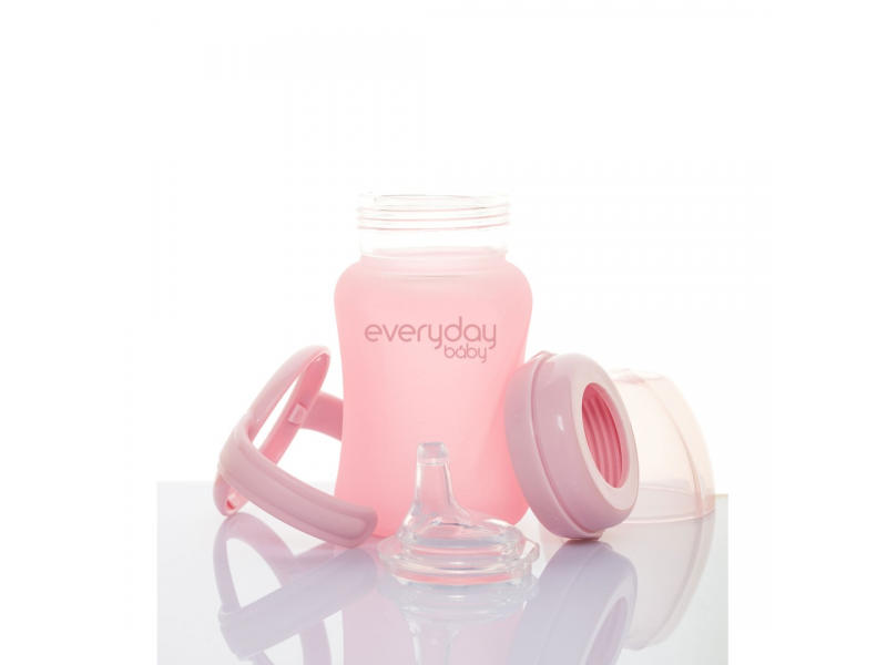hrneček sklo se silikonovým obalem Healthy+ 150 ml Rose Pink 1