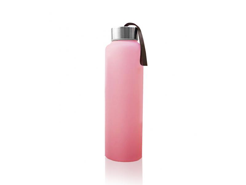 láhev sklo na vodu Rose Pink 1