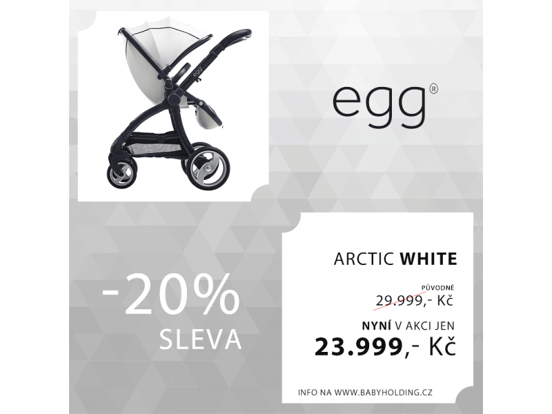 Egg kočárek ARCTIC WHITE/GUN METAL rám