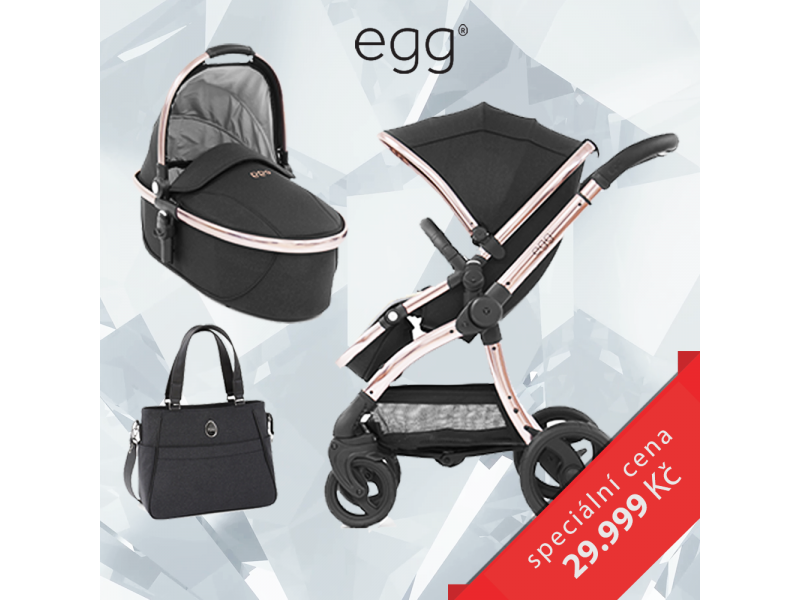 Egg Set DIAMOND BLACK / ROSE GOLD, kočárek + hluboká korba + taška + adaptéry