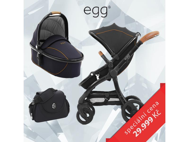 Egg Set ESPRESSO / BLACK rám, kočárek + hluboká korba + taška + adaptéry