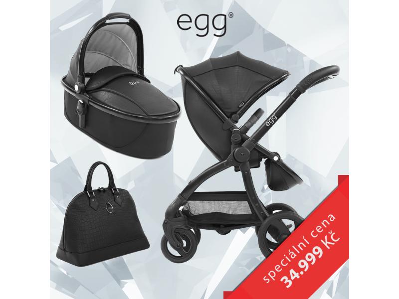 Egg Set JURASSIC BLACK & BLACK FRAME, kočárek + hluboká korba + taška + podložka + adaptéry