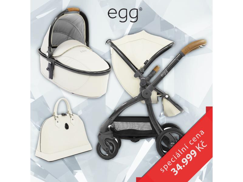Egg Set JURASSIC CREAM & GUN METAL, kočárek + hluboká korba + taška + podložka + adaptéry