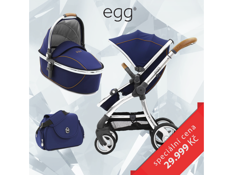 Egg Set REGAL NAVY / MIRROR rám, kočárek + hluboká korba + taška + adaptéry