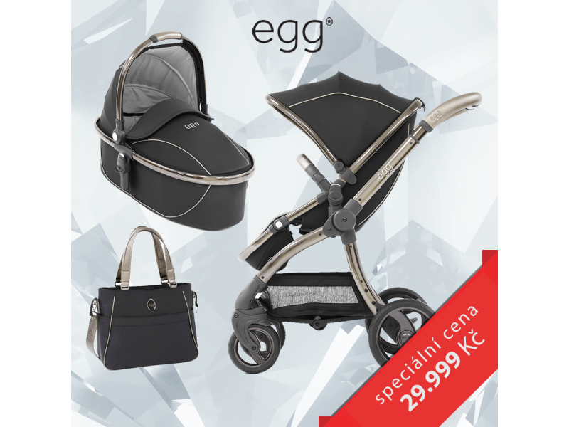 Egg Set SHADOW BLACK/ BLACK rám, kočárek + hluboká korba + taška + adaptéry