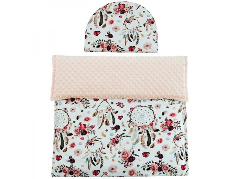 Esito Luxusní dětská deka s polštářem do kočárku MINKY 3 v 1, lososová 65x85, 35x27 cm