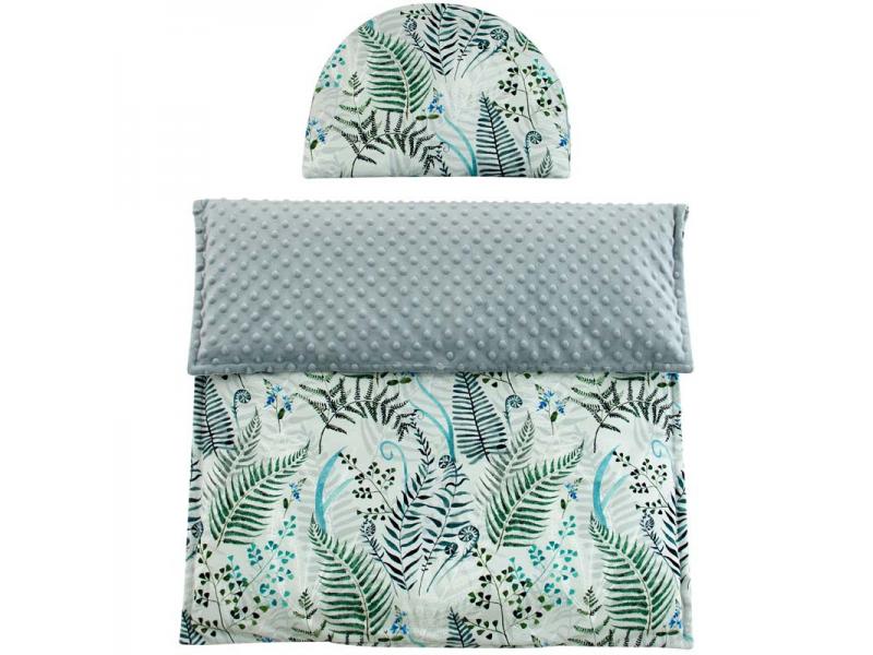 Esito Luxusní dětská deka s polštářem do kočárku MINKY 3 v 1, 65x85, 35x27 cm šedá