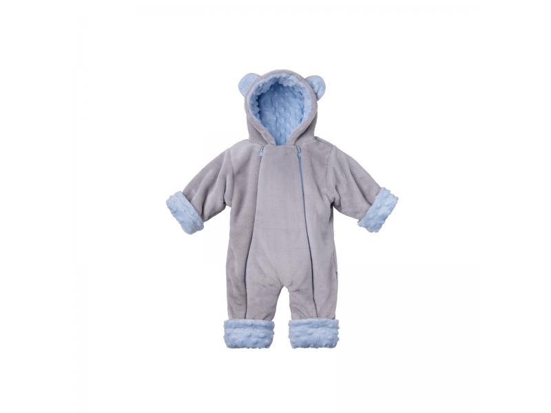 Zimní kojenecký overal Minky Teddy | modrá 56 - 62 1