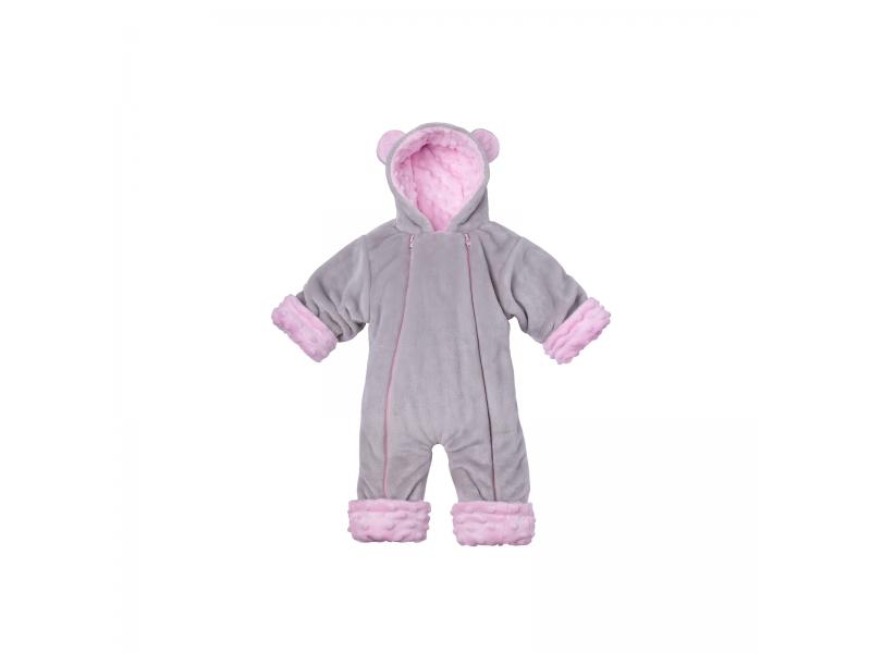 Zimní kojenecký overal Minky Teddy   růžová 80 - 86 1