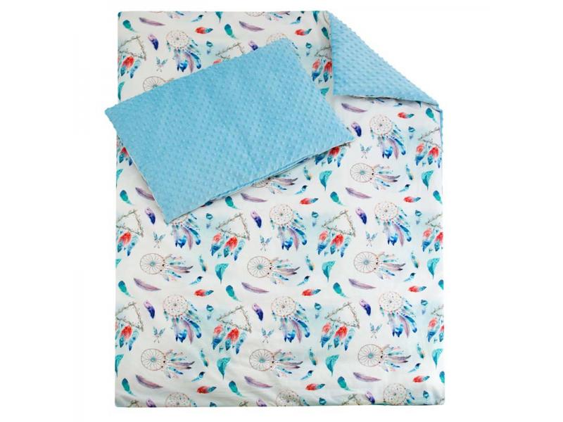 Luxusní dětské povlečení MINKY, modrá 100x135, 60x40 cm 1