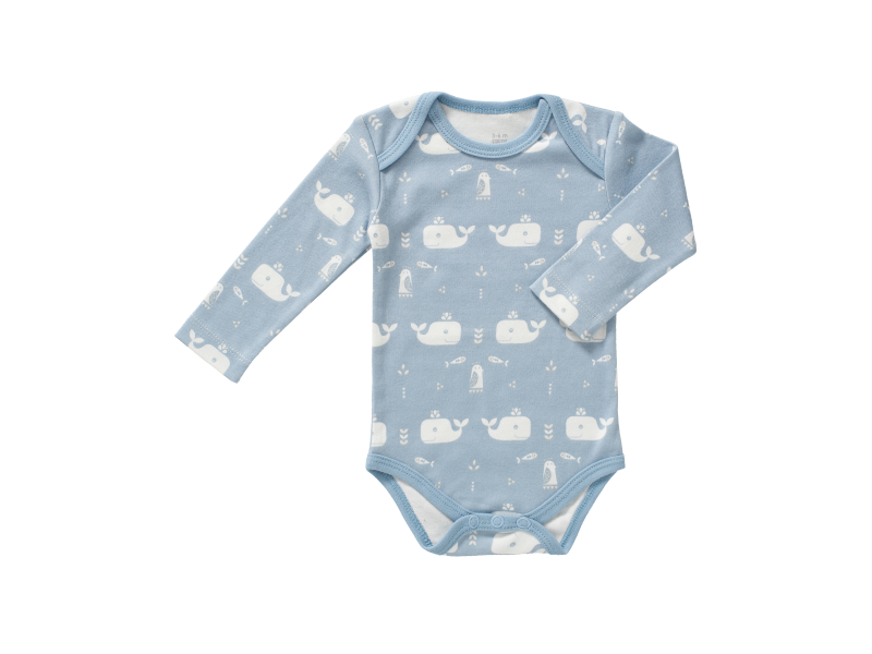 Body s dlouhým rukávem Whale blue fog, newborn 1