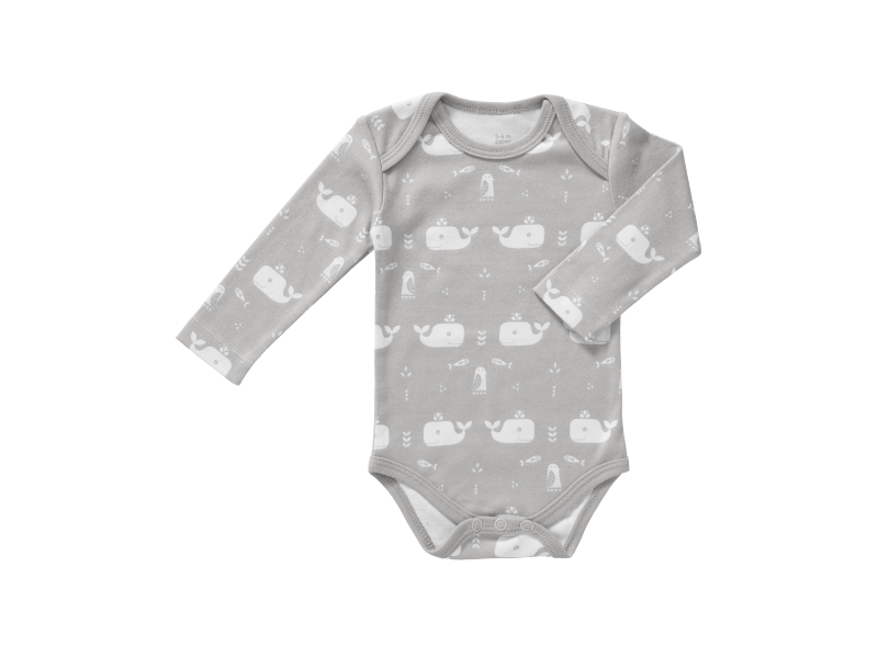 Body s dlouhým rukávem Whale dawn grey, newborn 1
