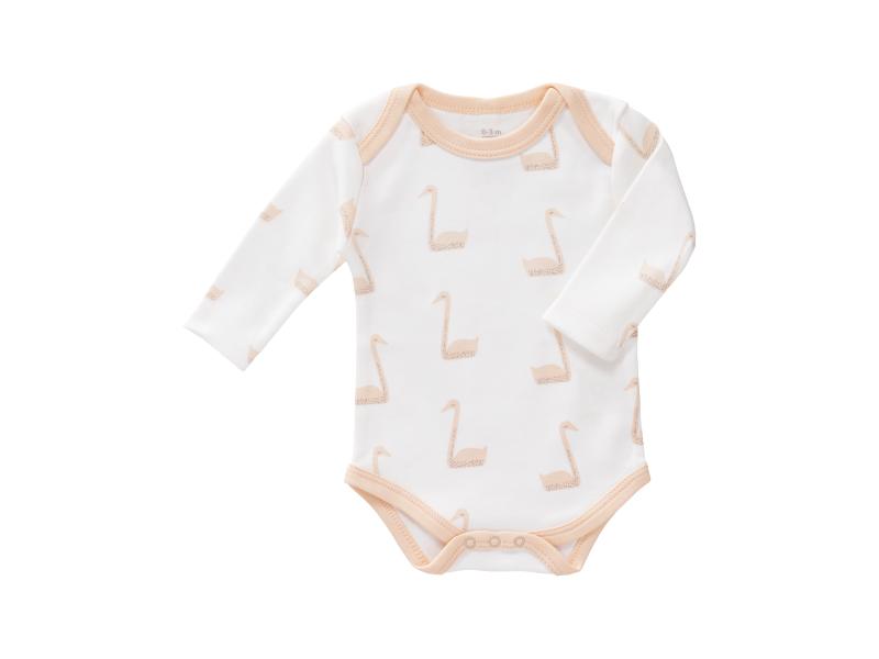 Body s dlouhým rukávem Swan pale peach, newborn 1