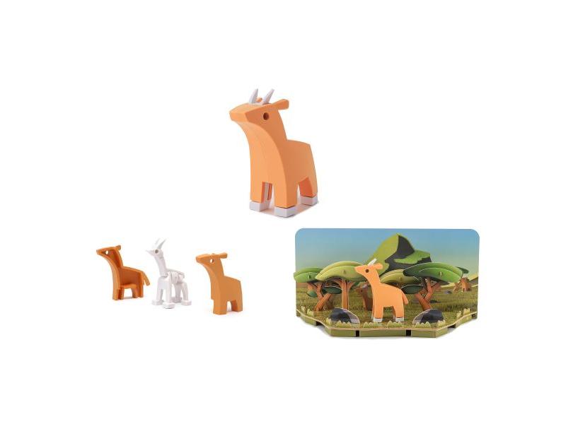 HALFTOYS ANTILOPA - magnetická skládací hračka s 3D modelem savany