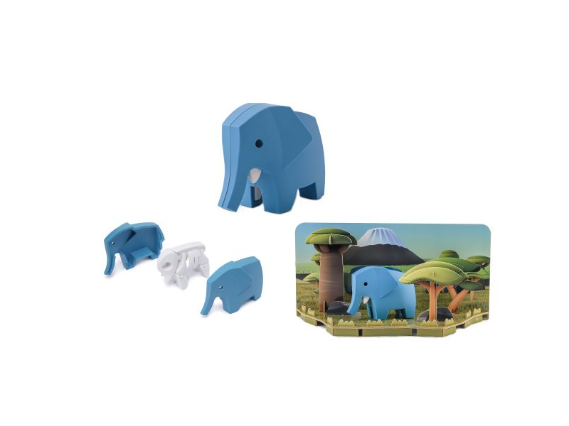 HALFTOYS SLON - magnetická skládací hračka s 3D modelem savany
