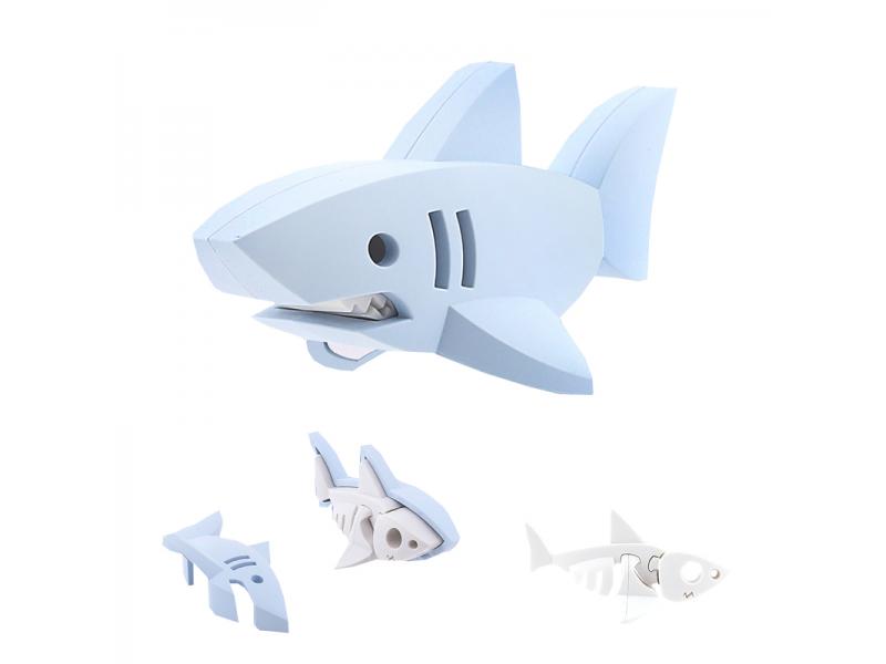 ŽRALOK BÍLÝ - magnetická skládací hračka s 3D modelem oceánu 1