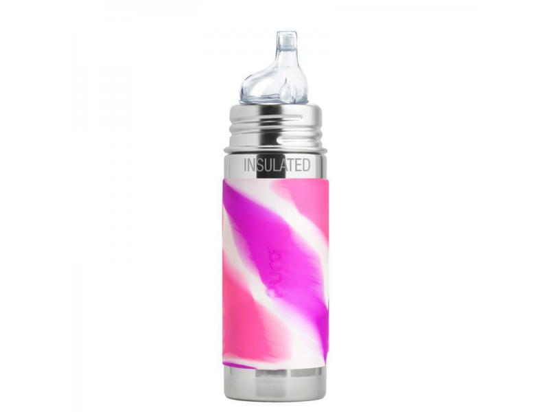 Pura TERMO láhev s pítkem 260ml - růžovo-bílá