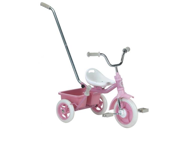 Italtrike Kovová tříkolka s madlem a košíčkem Růžová