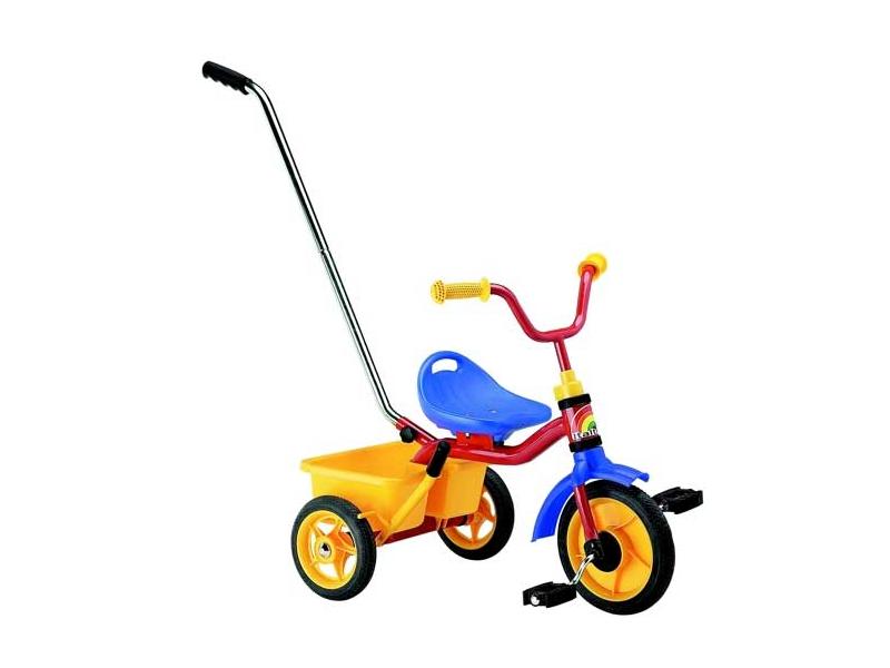Italtrike Kovová tříkolka s madlem a košíčkem UNI trikolóra
