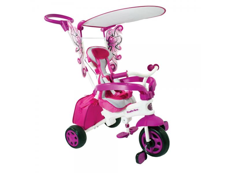 Italtrike Luxusní BABY tříkolka Motýl s vodící tyčí