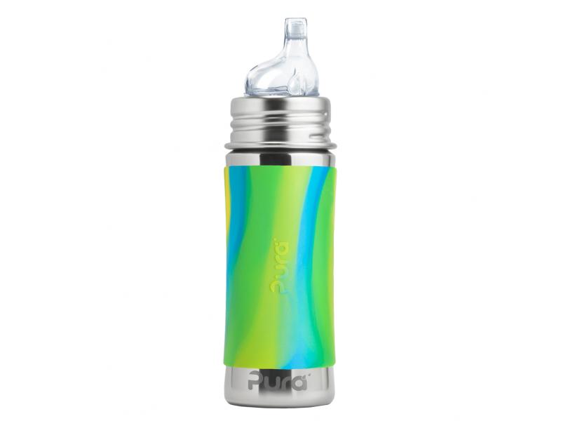 Pura Nerezová láhev s pítkem 325ml - zelená-aqua