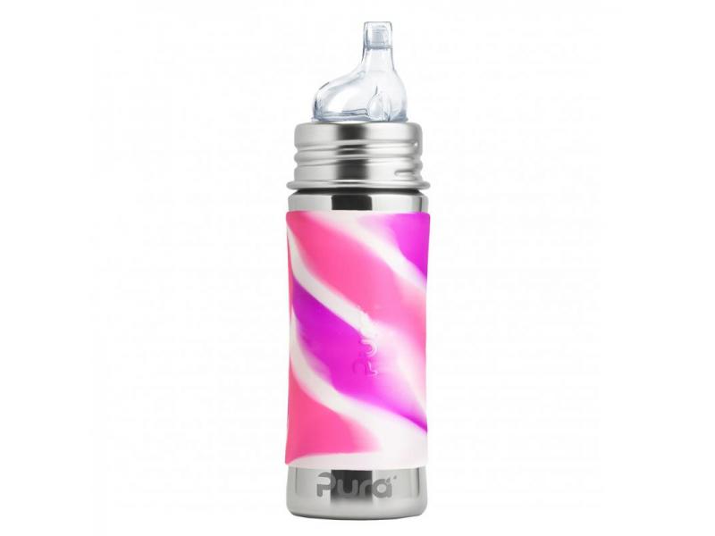 Pura Nerezová láhev s pítkem 325ml - růžovo-bílá