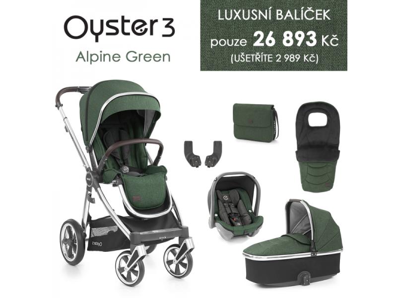 Oyster 3 Luxusní set 6 v 1 ALPINE GREEN (MIRROR rám) kočár + hl.korba + autosedačka + adaptéry + fusak + taška