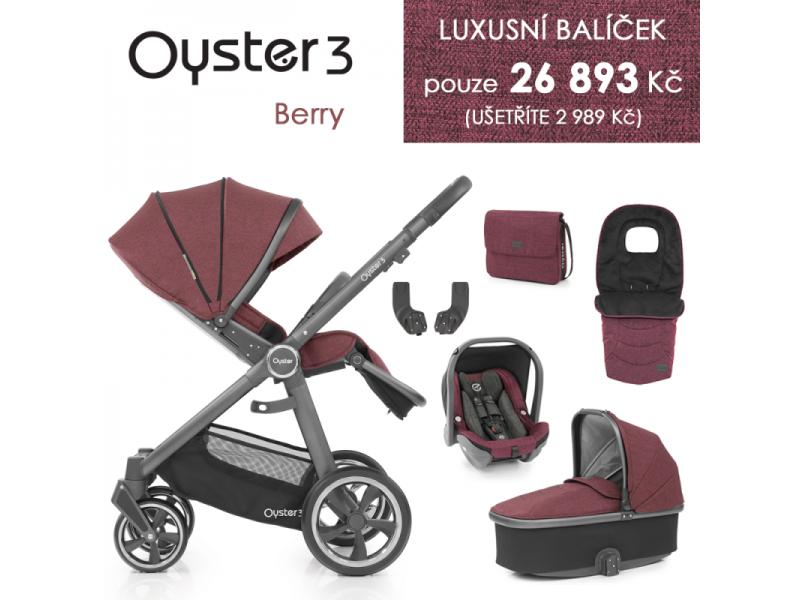 Oyster 3 Luxusní set 6 v 1 BERRY (CITY GREY rám) kočár + hl.korba + autosedačka + adaptéry + fusak + taška