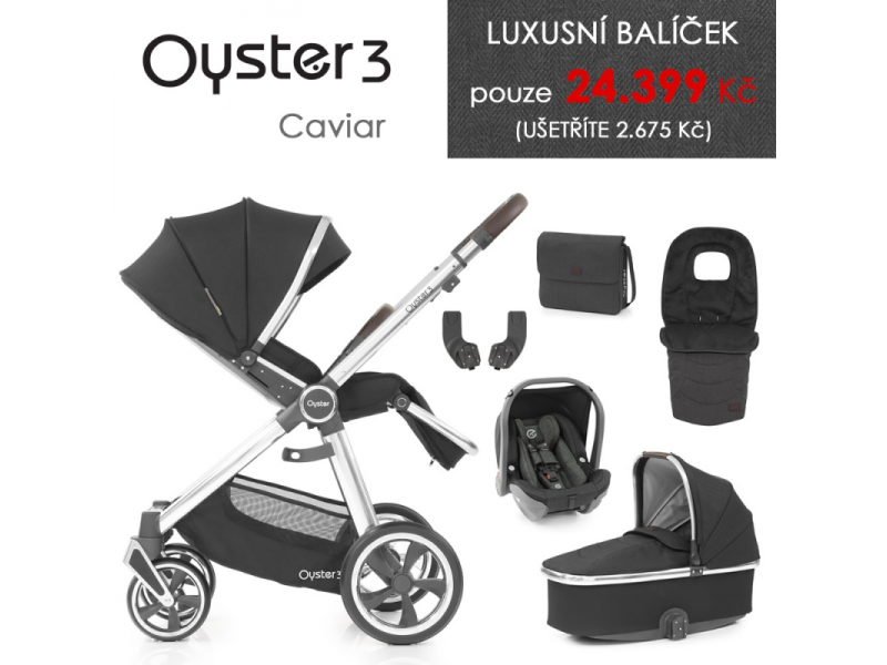 Oyster 3 Luxusní set 6 v 1 CAVIAR (MIRROR rám) kočár + hl.korba + autosedačka + adaptéry + fusak + taška