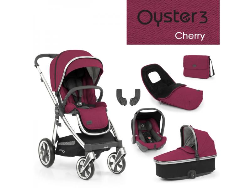Oyster 3 Luxusní set 6 v 1 CHERRY (MIRROR rám) 2022 kočár + hl.korba + autosedačka + adaptéry + fusak + taška