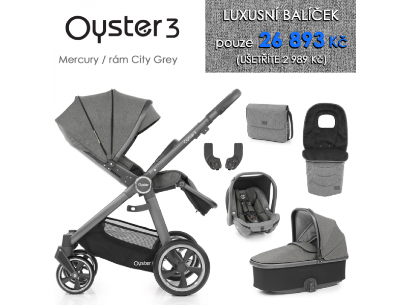 Oyster 3 Luxusní set 6 v 1 MERCURY (CITY GREY rám) kočár + hl.korba + autosedačka + adaptéry + fusak + taška