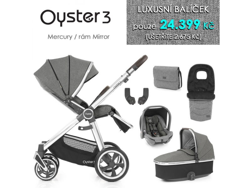 Oyster 3 Luxusní set 6 v 1 MERCURY (MIRROR rám) kočár + hl.korba + autosedačka + adaptéry + fusak +