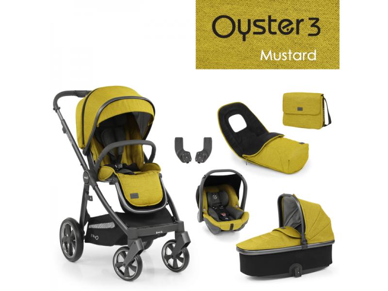Oyster 3 Luxusní set 6 v 1 MUSTARD (CITY GREY rám) 2022 kočár + hl.korba + autosedačka + adaptéry + fusak + taška