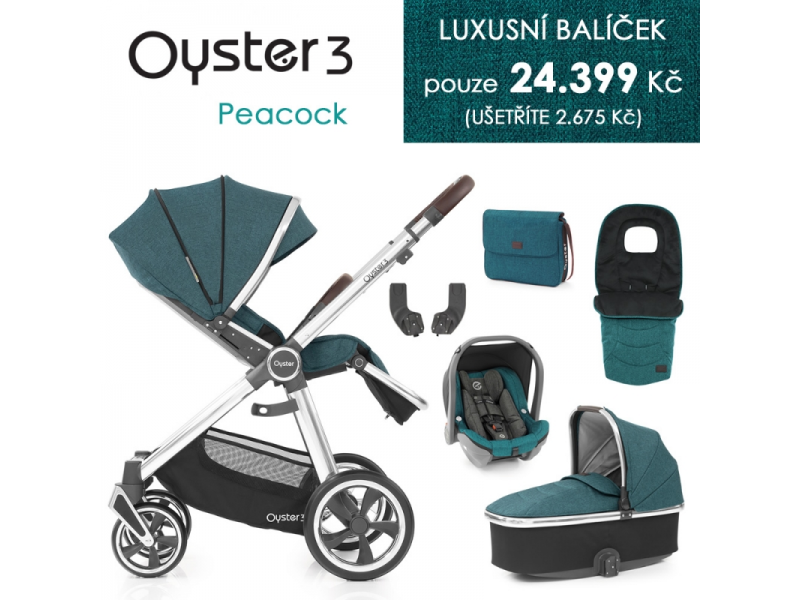 Oyster 3 Luxusní set 6 v 1 PEACOCK (MIRROR rám) kočár + hl.korba + autosedačka + adaptéry + fusak +