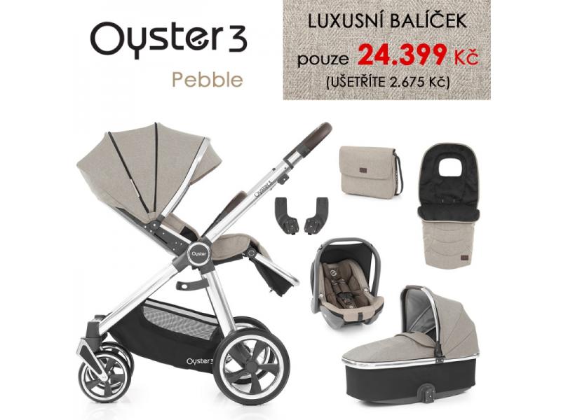 Oyster 3 Luxusní set 6 v 1 PEBBLE (MIRROR rám) kočár + hl.korba + autosedačka + adaptéry + fusak + taška