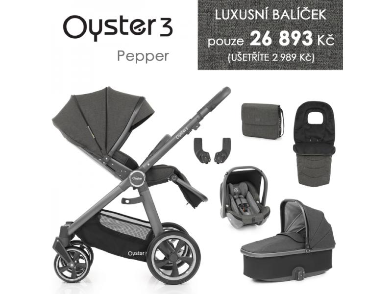 Oyster 3 Luxusní set 6 v 1 PEPPER (CITY GREY rám) kočár + hl.korba + autosedačka + adaptéry + fusak + taška