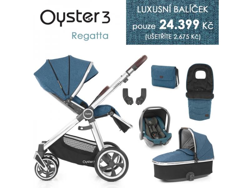 Oyster 3 Luxusní set 6 v 1 REGATTA (MIRROR rám) kočár + hl.korba + autosedačka + adaptéry + fusak +