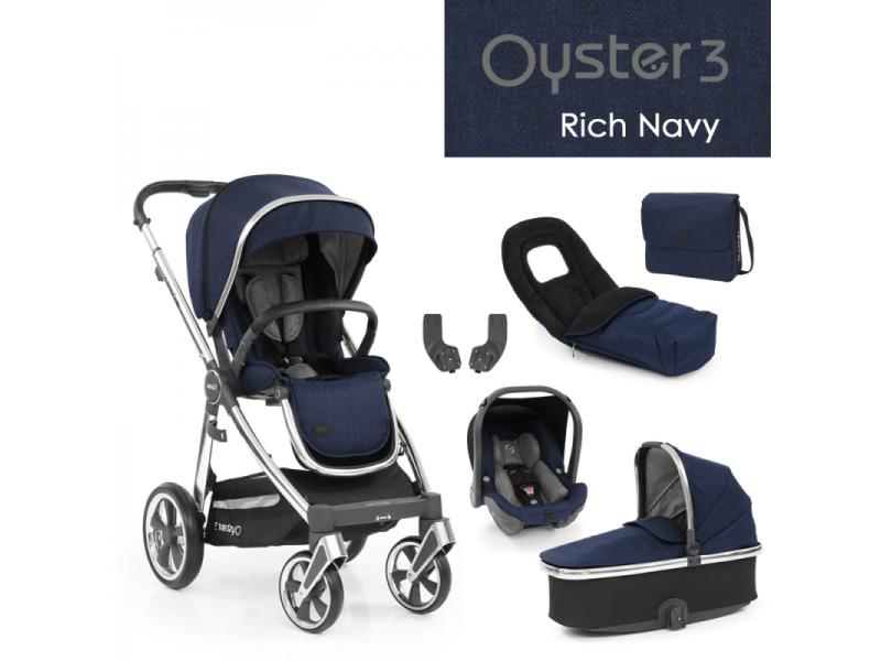Oyster 3 Luxusní set 6 v 1 RICH NAVY (MIRROR rám) 2022 kočár + hl.korba + autosedačka + adaptéry + fusak + taška