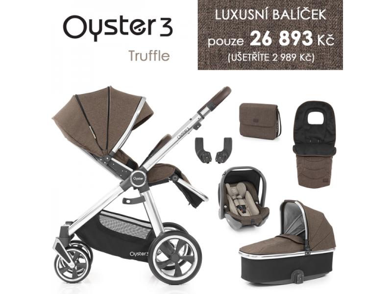 Oyster 3 Luxusní set 6 v 1 TRUFFLE (MIRROR rám) kočár + hl.korba + autosedačka + adaptéry + fusak + taška