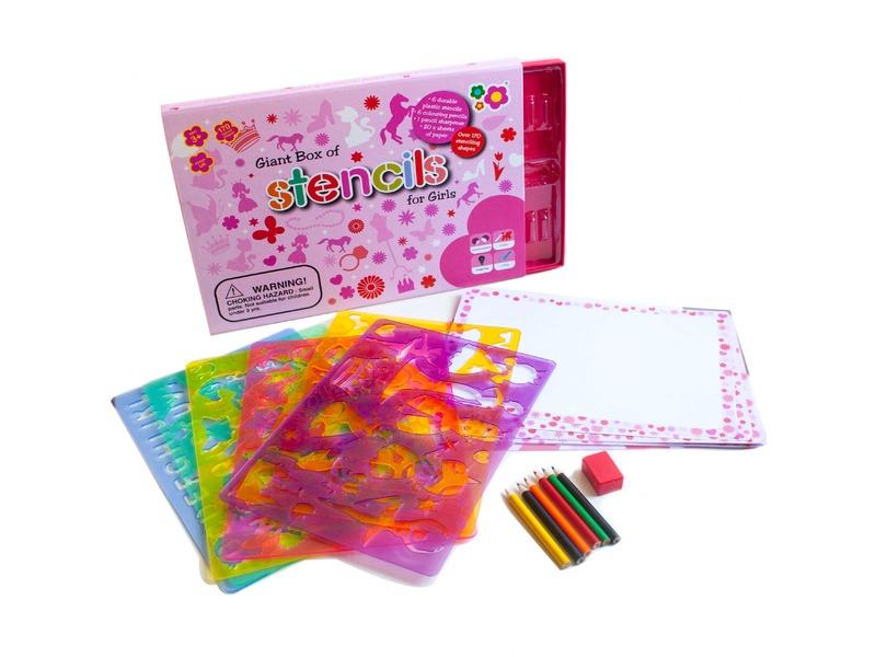 Meadow Kids Kreslicí šablony s pastelkami velký box pro holčičky