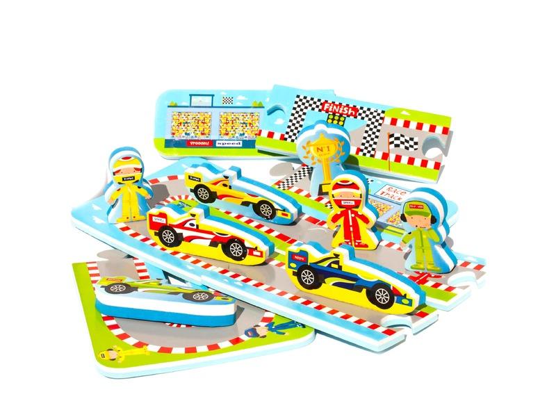 Meadow Kids Puzzle do vany / bazénku Automobilový závod