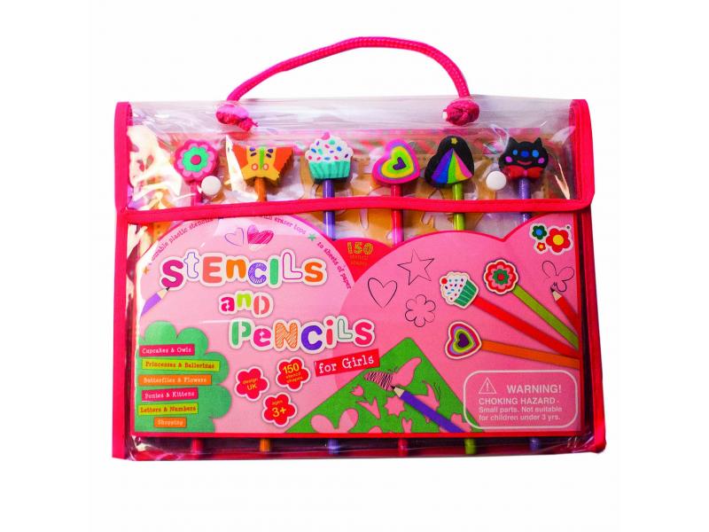 Meadow Kids Kreslicí šablony s pastelkami pro holčičky
