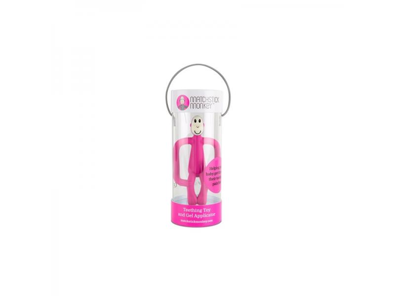 Matchstick Monkey Teether and Gel Applicator, růžová