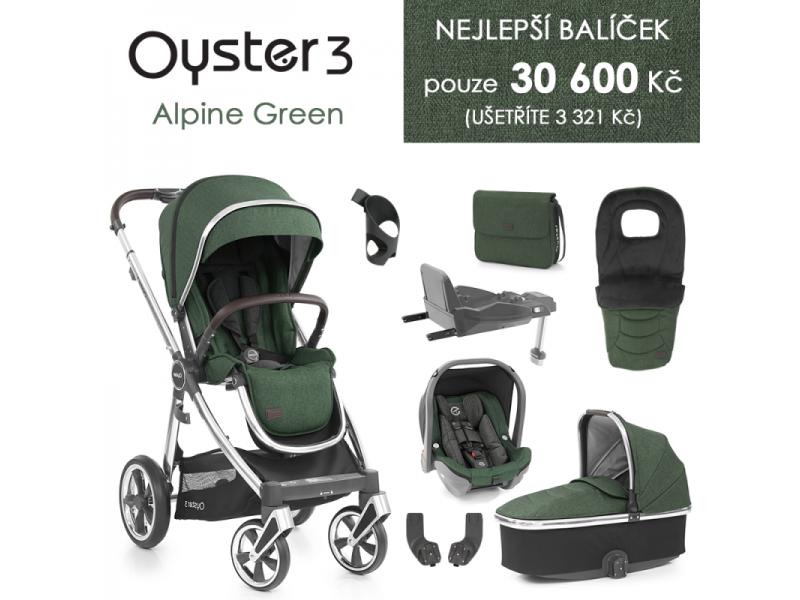 Oyster 3 Nejlepší set 8 v 1 ALPINE GREEN (MIRROR rám) kočár + hl.korba + autosedačka + adaptéry + fusak + taška + isofix báze + držák na nápoje